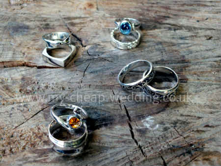 silver wedding ring sets